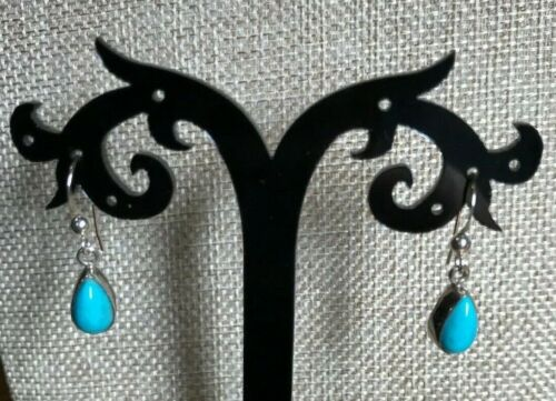 Jay King RedSkin Turquoise Drop Sterling Silver Earrings  NWT Ret $75