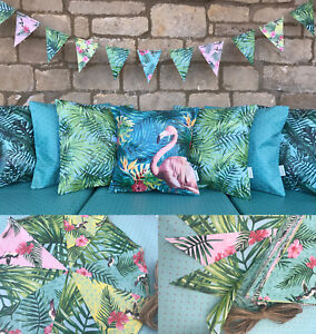 Tropical-Leaf-Flamingo-WATERPROOF-OUTDOOR-PVC-GARDEN-BENCH-SEAT-CUSHIONS-BUNTING