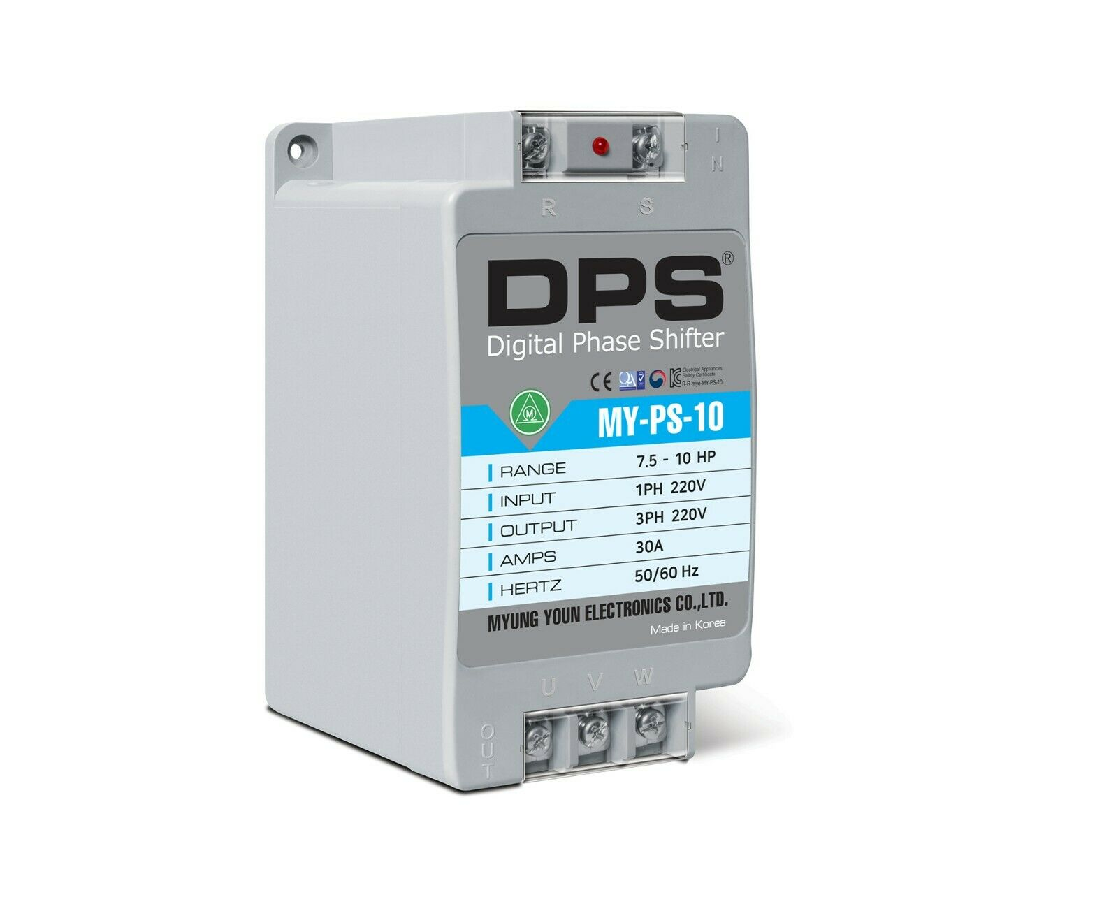 1Phase to 3Phase Converter, MY-PS-10, Best for 7.5HP(5.5KW) 23Amp 200-240V Motor