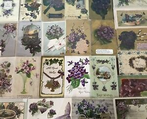 Lot-of-25-Pretty-Purple-Violets-Flowers-Vintage-Floral-Greetings-Postcards-s856