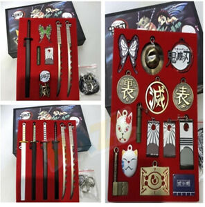 Demon-Slayer-Kimetsu-no-Yaiba-Keychain-Set-Weapon-Accessories-Props-New-in-Box
