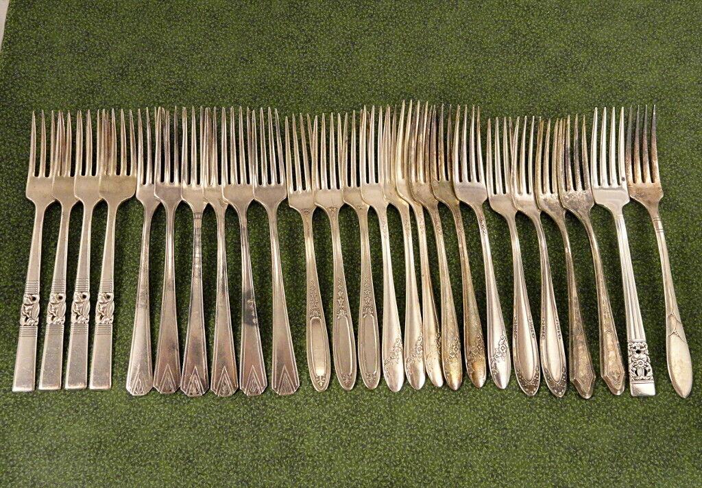 Craft 25 deco floral dinner forks Lot J Vintage couverts argenterie argenterie