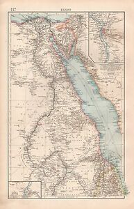 1900 TIMES LARGE ANTIQUE MAP EGYPT RED SEA ENVIRONS OF CAIRO