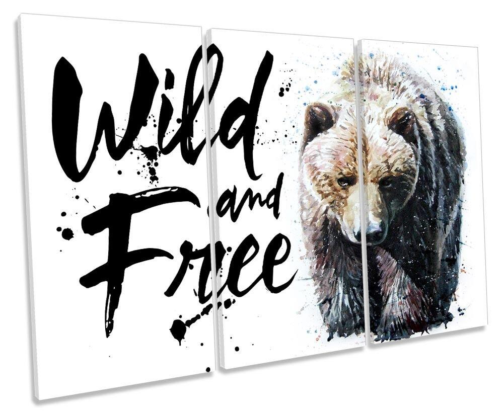 Bear Wild and Free Framed TREBLE CANVAS PRINT Wall Art