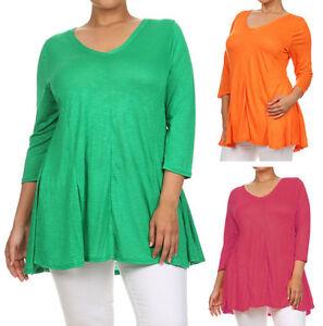 6a605e606cb Women's Plus Size Basic V-Neck 3/4 Sleeves Flowy Tunic Top | eBay