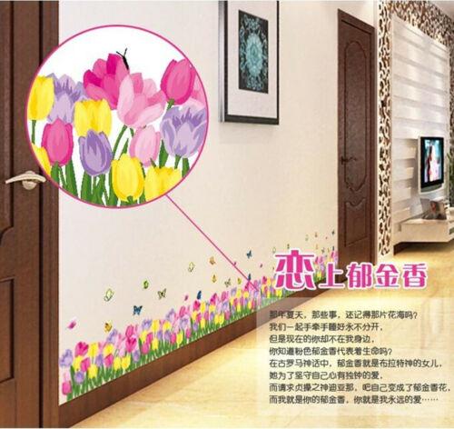 Flower Grass Skirting Line Wall Sticker Corner Line Baseboard Decals 19 Styles