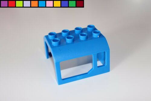 Lego Duplo Eisenbahn blau elektrische Lok Waggon Dach Kabine Führerhaus