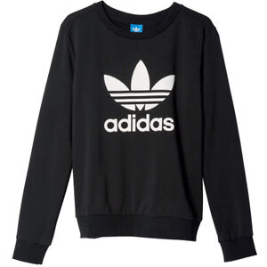 Details about Adidas Originals Crew Sweater Ladies Trefoil Logo Sweatshirt Black White