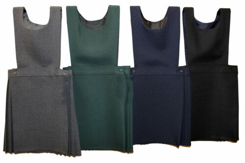 Girls School Pleated Pinafore Uniform Dress Kids Black Navy Grey Green All Sizes