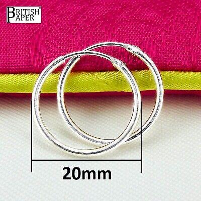 925 Plata Esterlina Pendientes De AroSleeper 10 12 14mm