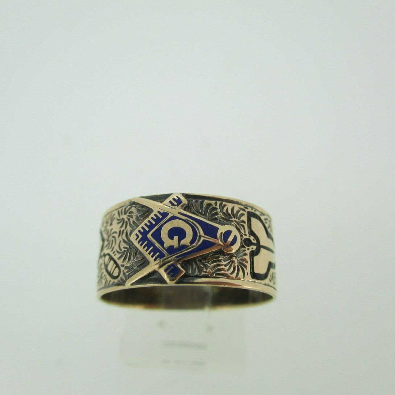 CA 1900s Vintage 14k pink gold Masonic bluee Lodge Ring Size 8 1 2