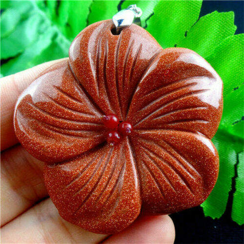 Wholesale Beautiful  Carved Flower Gold Sand Stone Pendant Bead HHB1