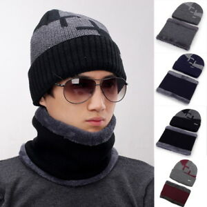 a1dc5993d30 2-in-1 Men Winter Beanie Hat Scarf Warm Knitted Skull Cap Scarf Set ...
