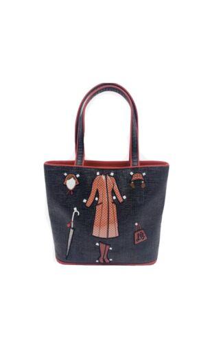 Rare Lulu Guiness Handbag Tote Purse Black Red Vin