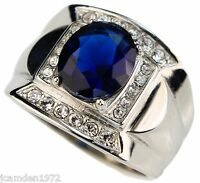 Blue Sapphire Simulated 6 Carat Mens Ring 316 Stainless Steel Size 9