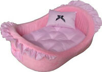 Pampered Pink Princess Deluxe Dog Cat Soft Pet Bed With Pillow - 764