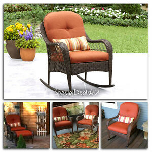 Rocking Chair Resin Wicker Outdoor Brown Patio Furniture Porch