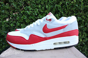 39c057a9cf NIKE AIR MAX 1 QS 2009 SZ 10 WHITE SPORTS RED NEUTRAL GREY BLACK ...