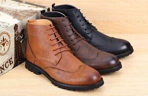 Nouveau-Homme-Fashion-Haut-Bottines-A-Lacets-Derbies-Bout-D-039-Aile-Richelieu-a-Robe-Chaussures