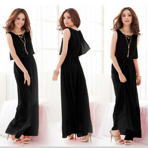 Details about Summer Ladies Women Chiffon Sheer Waist Maxi Dress Plus Size  Boutique Tops S-5XL
