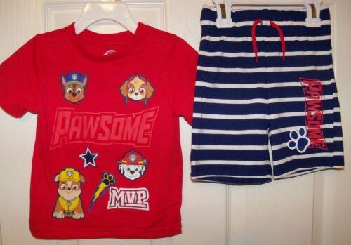 Paw Patrol 2 Piece Pawsome Shorts and Shirt Set Set Boys Size Toddler 2T NWT