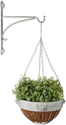Esschert Design Hänge Topf Blumenampel 26cm Kokoseinlage grau Metall Löwe Pflanz