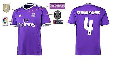 DemüTigen Trikot Real Madrid Away Champions League Final Cardiff 2017 - Sergio Ramos 4 Unterscheidungskraft FüR Seine Traditionellen Eigenschaften