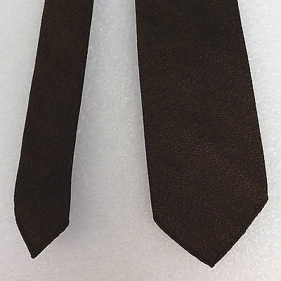 Bronze Terylene tie Skinny narrow Metallic brown black Prova vintage 1950s 1960s