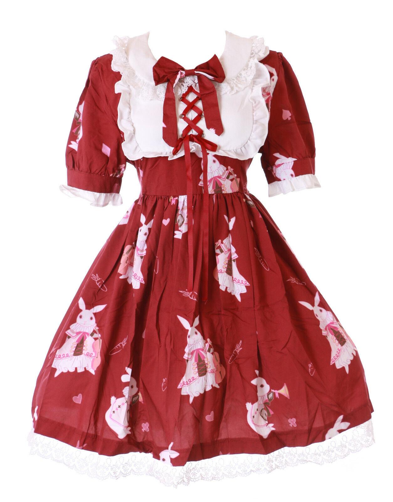 JSK-38-2 Rot Musik Instrument Hase Bunny Kleid Pastel Goth Lolita Kostüm Cospla