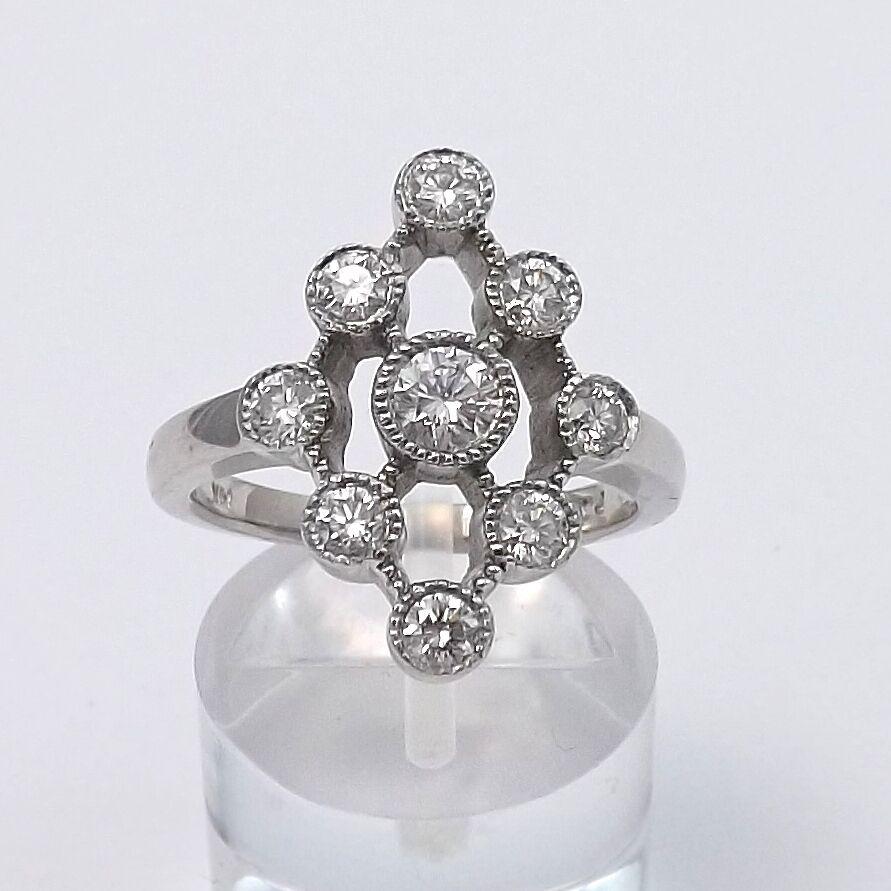 14K White gold .75 ctw Diamond Geo Sphere Style Ring Sz 7