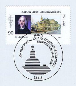 Bien éDuqué Rfa 2007: Johann Christian Senckenberg Nr 2588 Avec Bonner Cachet Spécial! 1a 1607-afficher Le Titre D'origine