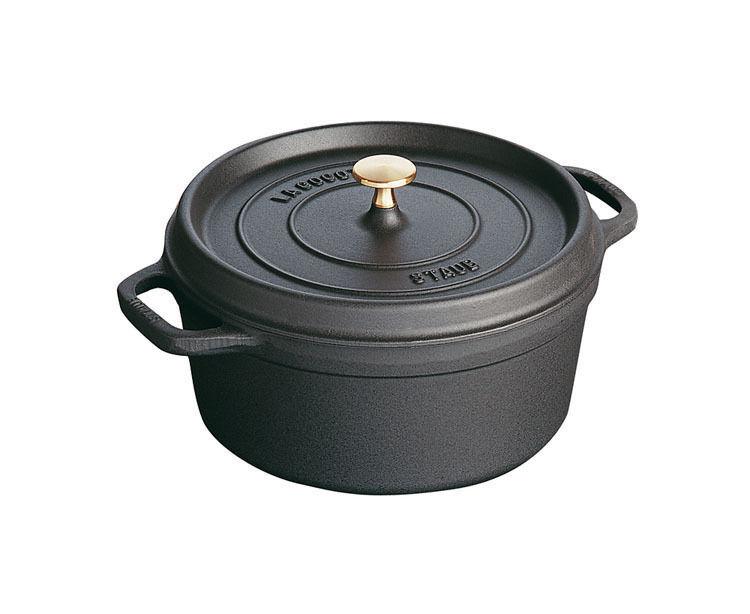 Staub Cocotte Asador 22 cm Ø Negro Hierro Fundido Olla de Cocción Utensilios