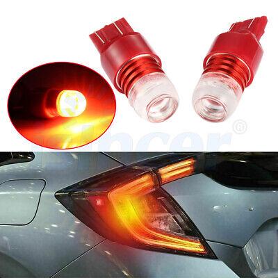2X 7443 7440 Red Flash Strobe Stop Brake Light LED Bulbs For Honda Civic CR-V EA