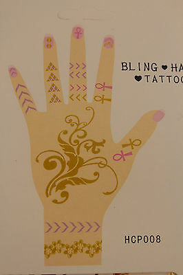 N Women Temporary Tattoo Gold Pink Fake Bling Hands Body Art Skin Party Sticker