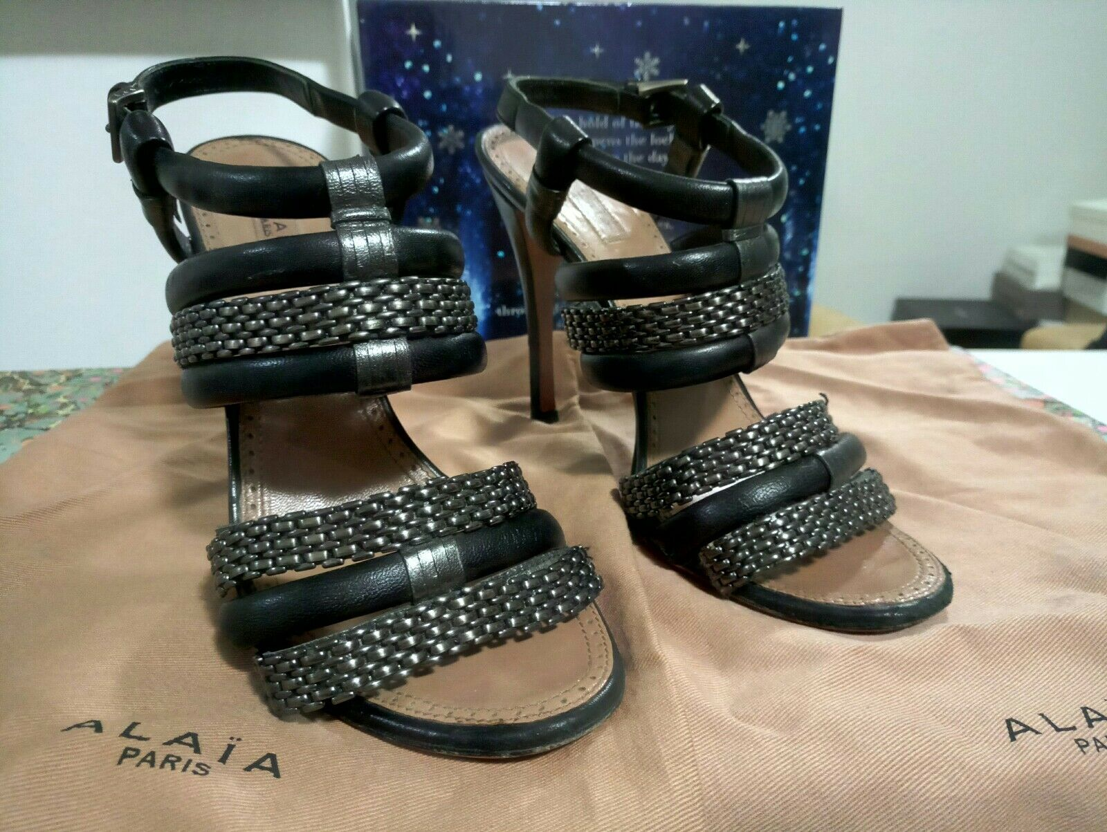 AZZEDINE ALAIA  metal and leather chain strap sandals Size 37