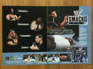 WWF-Smackdown-PS1-PSX-Playstation-2000-Vintage-Print-Ad-Poster-Art-THE-ROCK-WWE
