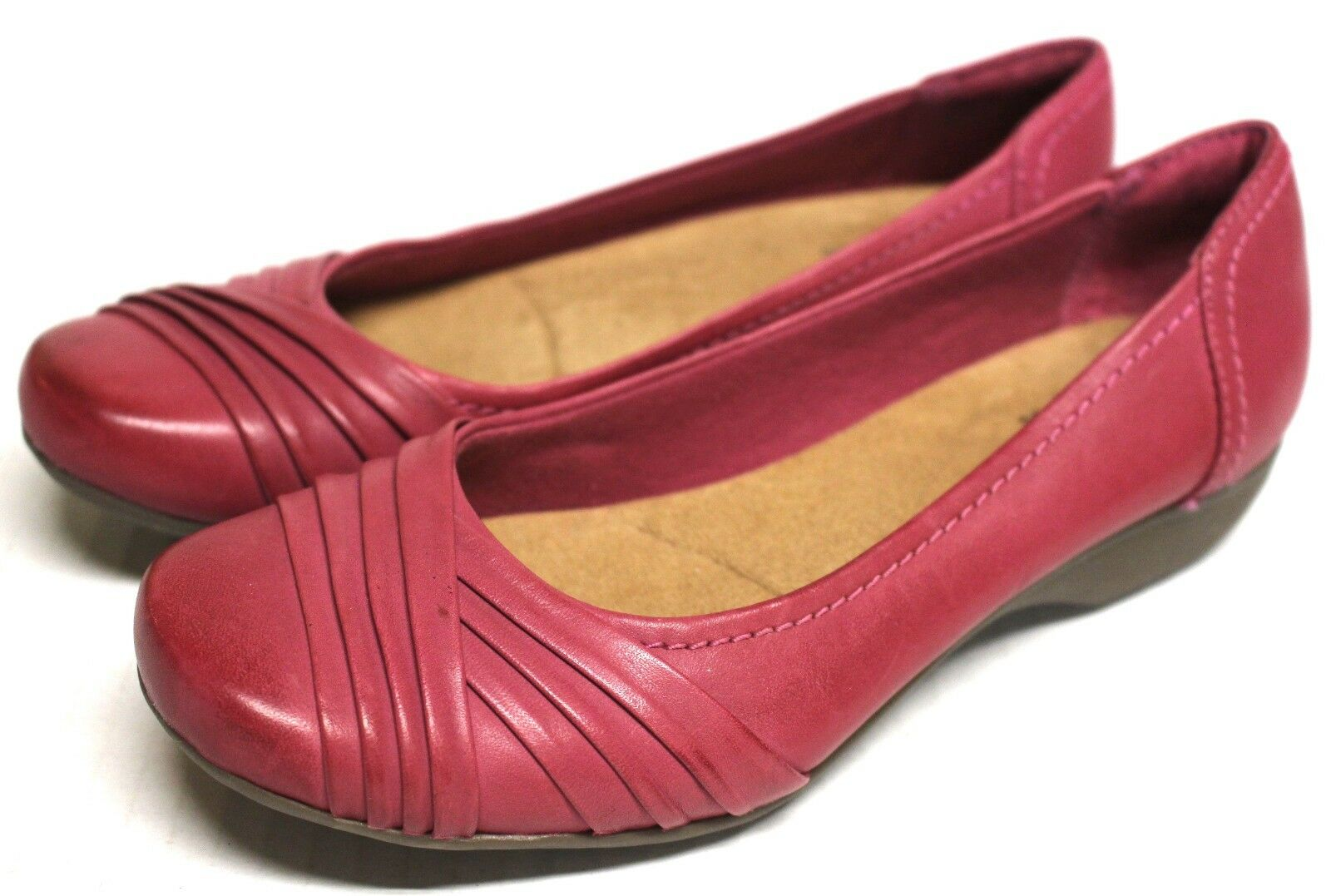New Clarks 1786 Women 6.5M Pink $95 Shoes Flat Loafers Leather Slip On Pink 6.5M Bendables 935985