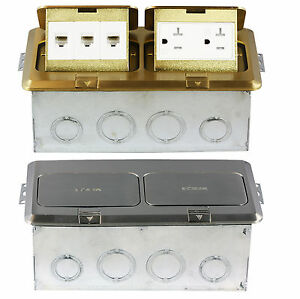 2 Gang Square Pop Up Floor Box W 20a Outlets Or Data