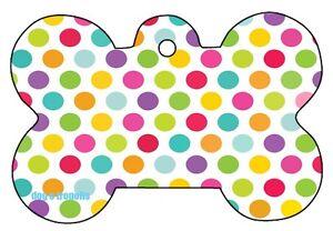 86200bdcc828 Rainbow Polka Dots Dog Pet Cat ID Tag Bone Shape Engraved ...