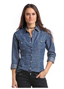 Panhandle-Slim-Women-039-s-Denim-Arrow-Print-Snap-Up-Western-Shirt-22S7159-22X7159
