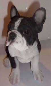 Sitting FRENCH BULLDOG Puppy Dog - Life Like Figurine Statue Home/ Garden NEW