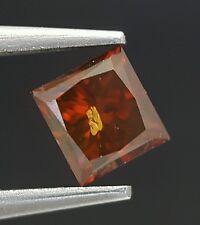 0.50 Carat Princess Cut Red Cognac Diamond Loose Color Enhanced Sparkling Deal