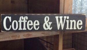 Rustic Wood Sign Coffee And Wine Coffee Bar Wine Bar Home Decor Prim