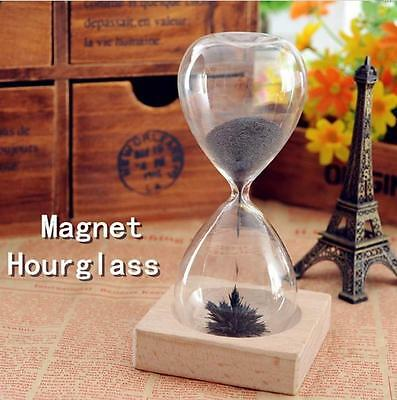 Magnetic Timer Sand  Desktop Hourglass Filled iron Filings Decoration XG
