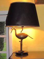 03D25 ANCIENNE LAMPE DE TABLE VINTAGE 1970 HÉRON EN LAITON STYLE JANSEN REGENCY