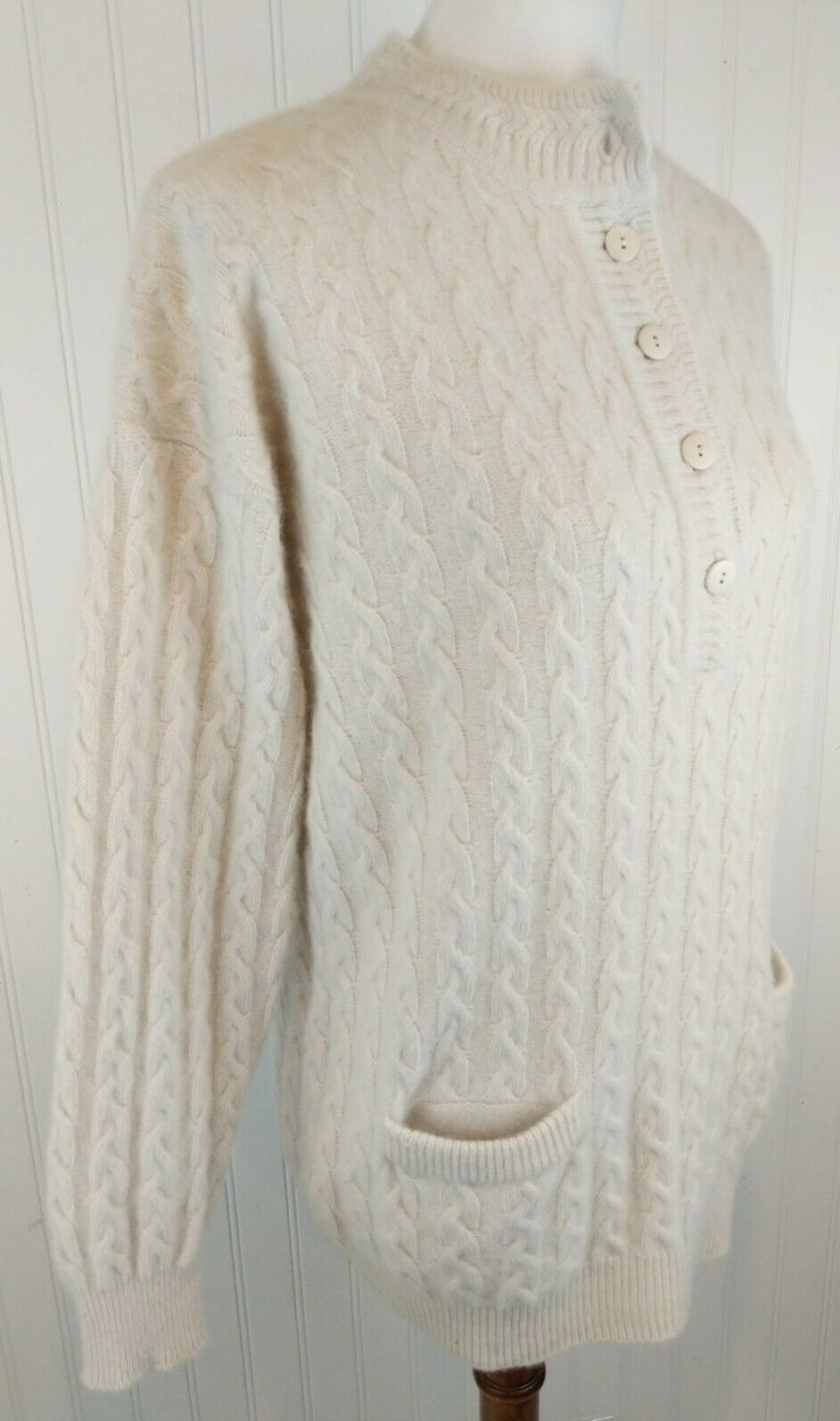 Vintage Angora Henley Pullover Sweater Cable Knit Soft Fuzzy Tunic S Mock Neck