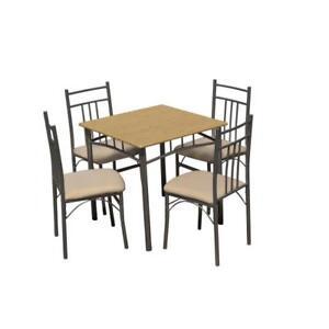 Conjunto de mesa cuadrada y 4 sillas tapizadas para cocina o comedor ...