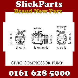 HONDA-CIVIC-COMPRESSOR-PUMP-2000-gt-2005-1-4-1-6-1-7-NEW-MATCH-PART-NUMBER