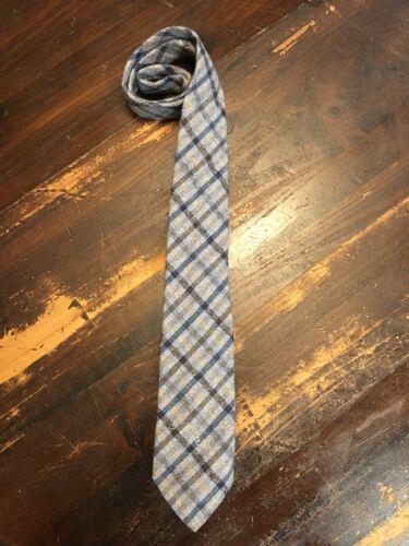 yves saint laurent Wool Plaid Neck Tie Signed