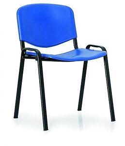 Sedute In Plastica Per Sedie.Sedia Fissa Per Ufficio In Plastica Seduta E Schienale Blu Ebay